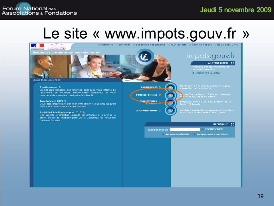 39 Le site « www.impots.gouv.fr »