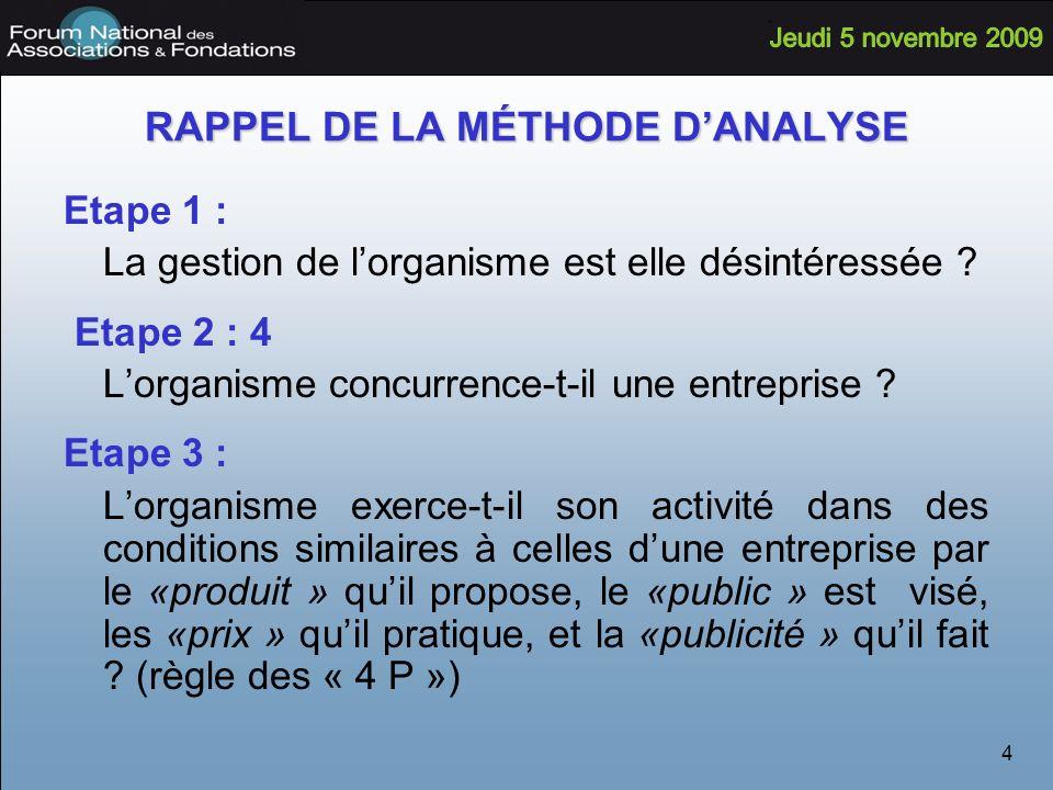 4 RAPPEL DE LA MÉTHODE DANALYSE Etape 1 : La gestion de lorganisme est elle désintéressée .