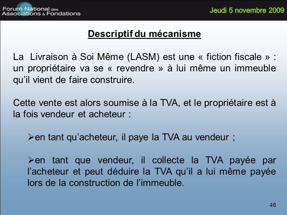 46 Descriptif du mécanisme La Livraison à Soi Même (LASM) est une « fiction fiscale » : un propriétaire va se « revendre » à lui même un immeuble quil vient de faire construire.