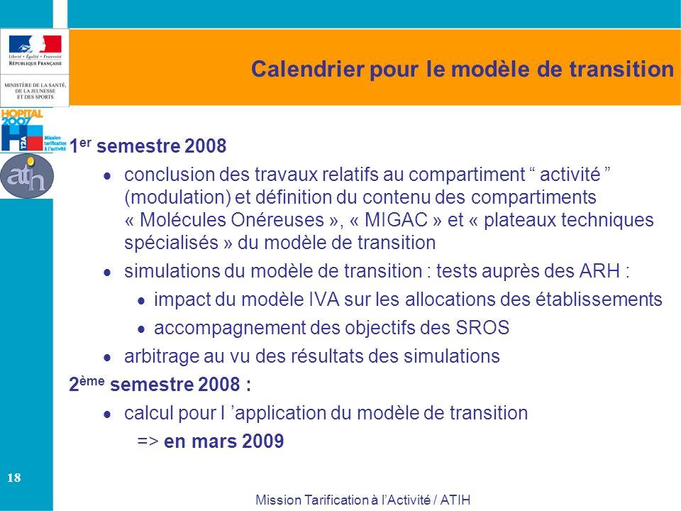18 Mission Tarification à lActivité / ATIH Calendrier pour le modèle de transition 1 er semestre 2008 conclusion des travaux relatifs au compartiment