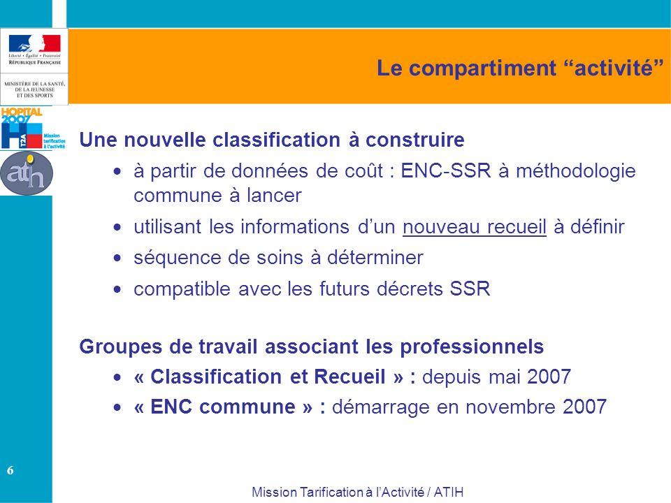 6 Mission Tarification à lActivité / ATIH Le compartiment activité Une nouvelle classification à construire à partir de données de coût : ENC-SSR à mé