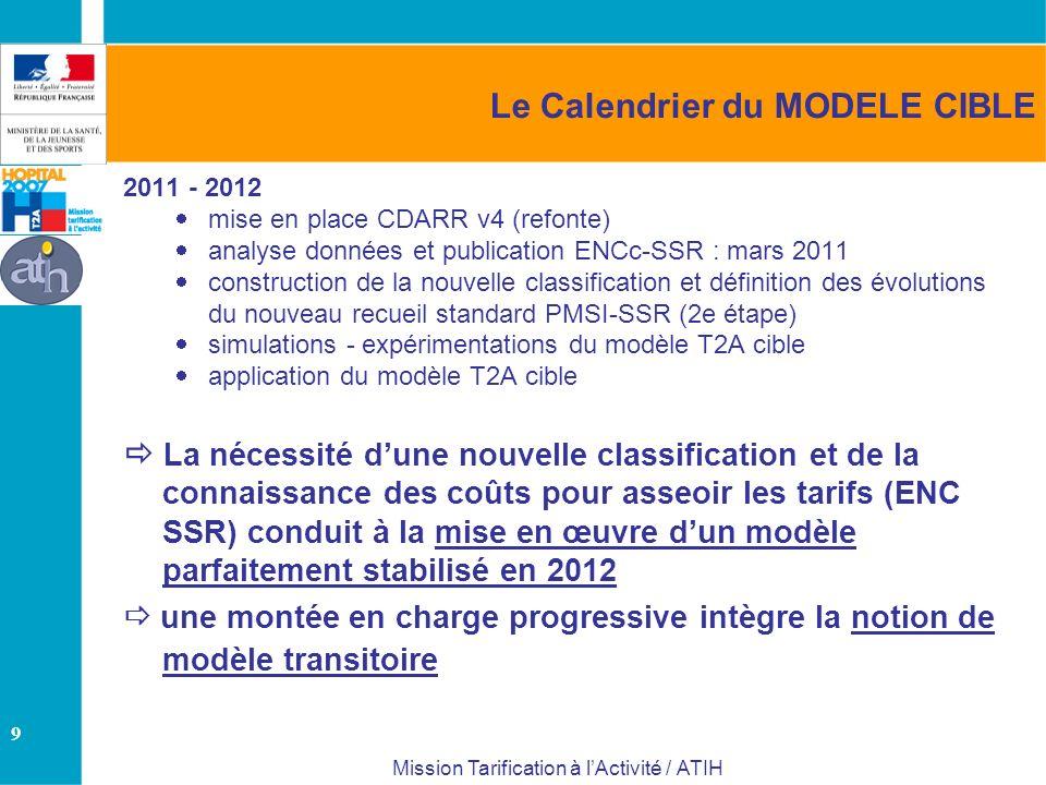 9 Mission Tarification à lActivité / ATIH Le Calendrier du MODELE CIBLE 2011 - 2012 mise en place CDARR v4 (refonte) analyse données et publication EN