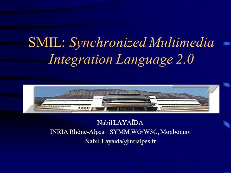Tendance dans le web –Diversité des formats et des plates formes (pas de format déchange, pérennité, …) –Multimédia et web se développent en parallèle Multimédia sur le web: un problème dintégration à deux niveaux 1.Les médias entre eux (mp3, vidéo, texte,..) 2.Avec le web (technos web) Cadre du travail W3C –SYMM Working Group (SMIL 1.0 et 2.0) Introduction
