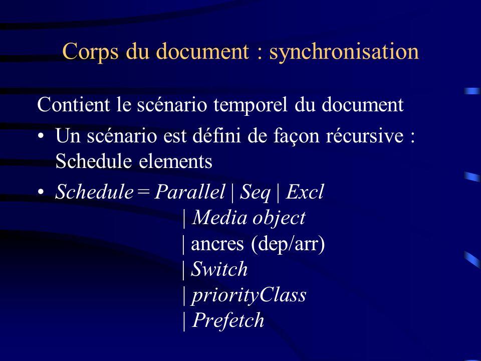 Corps du document : synchronisation Contient le scénario temporel du document Un scénario est défini de façon récursive : Schedule elements Schedule =