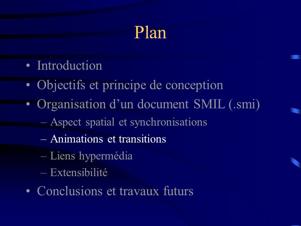 Plan Introduction Objectifs et principe de conception Organisation dun document SMIL (.smi) –Aspect spatial et synchronisations –Animations et transit