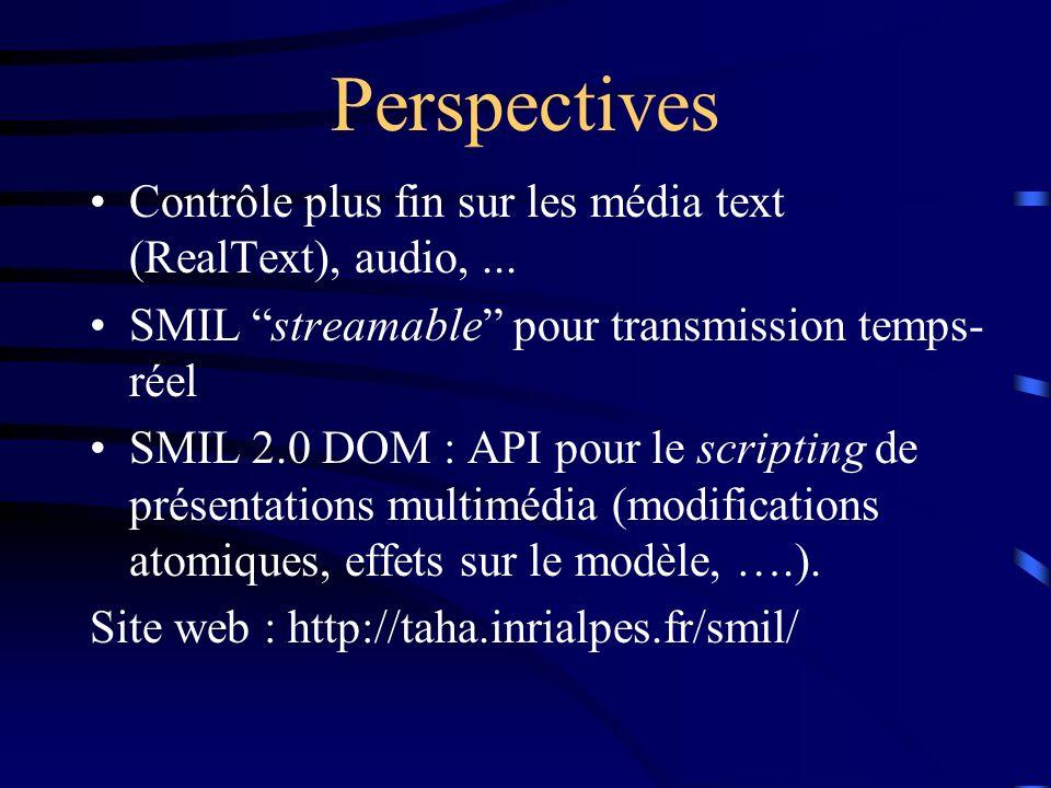 Perspectives Contrôle plus fin sur les média text (RealText), audio,... SMIL streamable pour transmission temps- réel SMIL 2.0 DOM : API pour le scrip