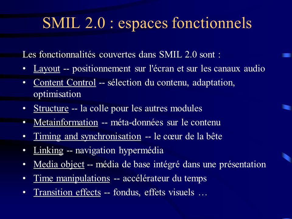 SMIL 2.0 : espaces langagiers Un profile : Langage qui correspond à un type d applications (DTD, Schema) Composition de l espace fonctionnel (modules) Intégration avec des modules extra-SMIL (Animation SVG) SMIL 2.0 Language Profile (SMIL Profile) : Successeur de SMIL 1.0 (compatibilité ascendante) Langage XML, une syntaxe et une sémantique Composition de la plupart des fonctionnalités de SMIL 2.0 SMIL 2.0 Basic Language Profile : Langage pour les téléphones et PDA ….