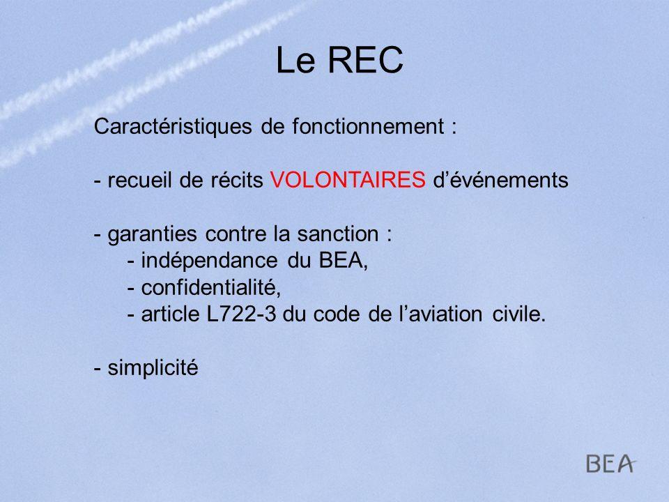 Le REC Caractéristiques de fonctionnement : - recueil de récits VOLONTAIRES dévénements - garanties contre la sanction : - indépendance du BEA, - conf