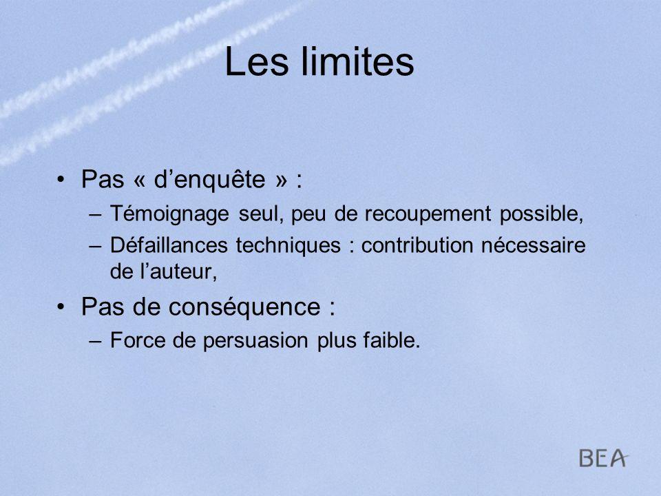 Les limites Pas « denquête » : –Témoignage seul, peu de recoupement possible, –Défaillances techniques : contribution nécessaire de lauteur, Pas de co