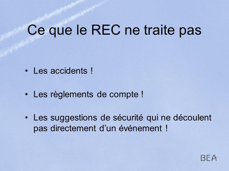 Ce que le REC ne traite pas Les accidents ! Les règlements de compte ! Les suggestions de sécurité qui ne découlent pas directement dun événement !