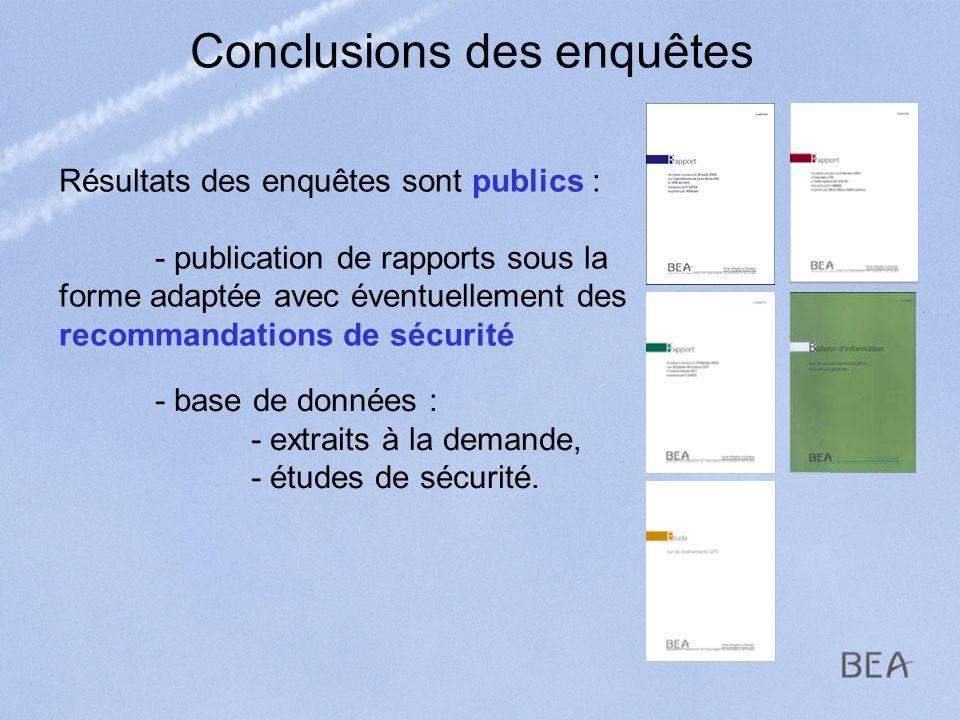 Conclusions des enquêtes Résultats des enquêtes sont publics : - publication de rapports sous la forme adaptée avec éventuellement des recommandations