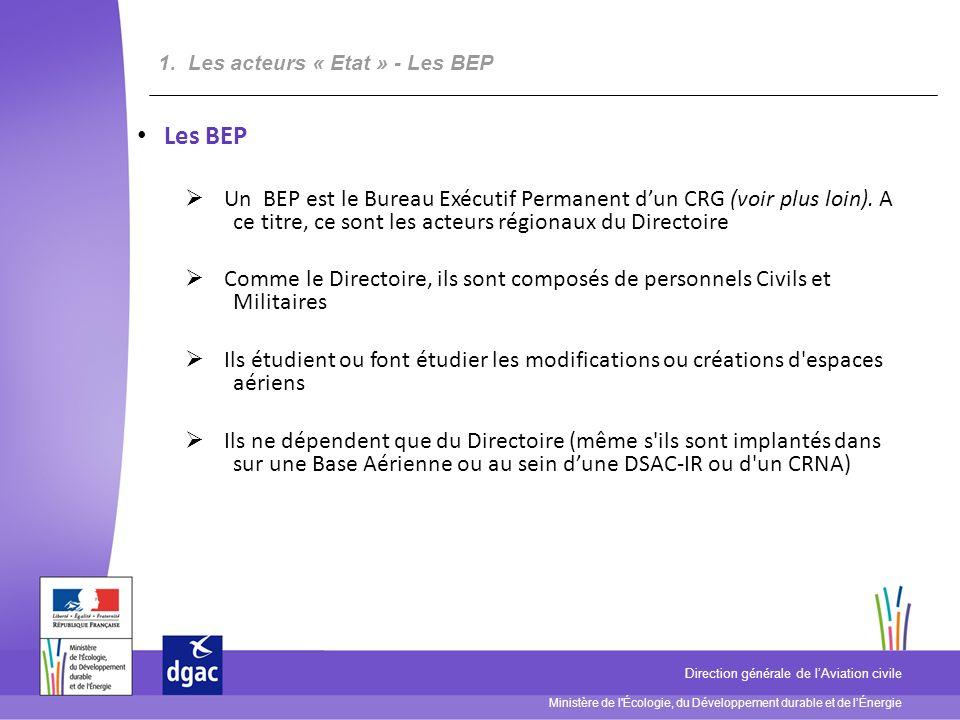 Ministère de l Écologie, du Développement durable et de lÉnergie Direction générale de lAviation civile Les BEP Un BEP est le Bureau Exécutif Permanent dun CRG (voir plus loin).