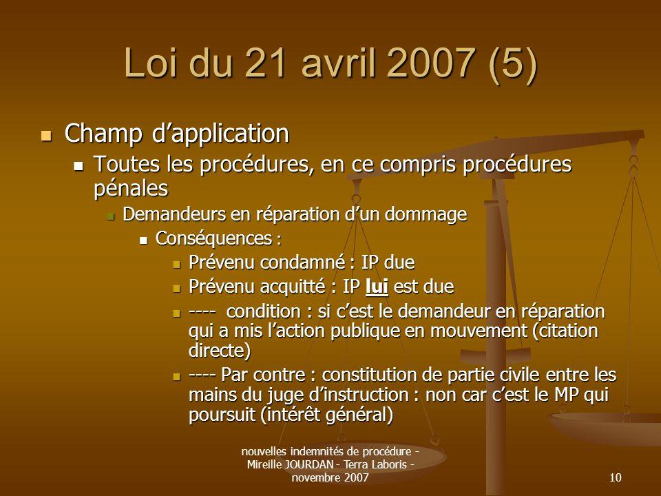 nouvelles indemnités de procédure - Mireille JOURDAN - Terra Laboris - novembre 200710 Loi du 21 avril 2007 (5) Champ dapplication Champ dapplication