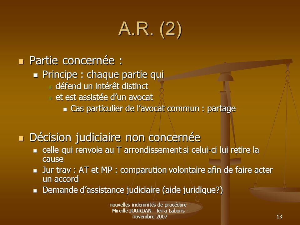 nouvelles indemnités de procédure - Mireille JOURDAN - Terra Laboris - novembre 200713 A.R. (2) Partie concernée : Partie concernée : Principe : chaqu