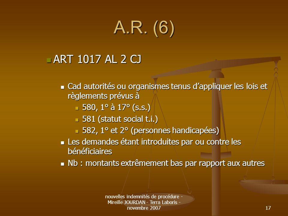 nouvelles indemnités de procédure - Mireille JOURDAN - Terra Laboris - novembre 200717 A.R. (6) ART 1017 AL 2 CJ ART 1017 AL 2 CJ Cad autorités ou org