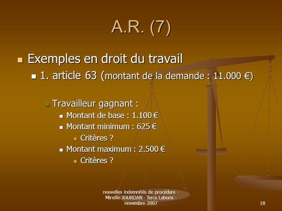 nouvelles indemnités de procédure - Mireille JOURDAN - Terra Laboris - novembre 200718 A.R. (7) Exemples en droit du travail Exemples en droit du trav