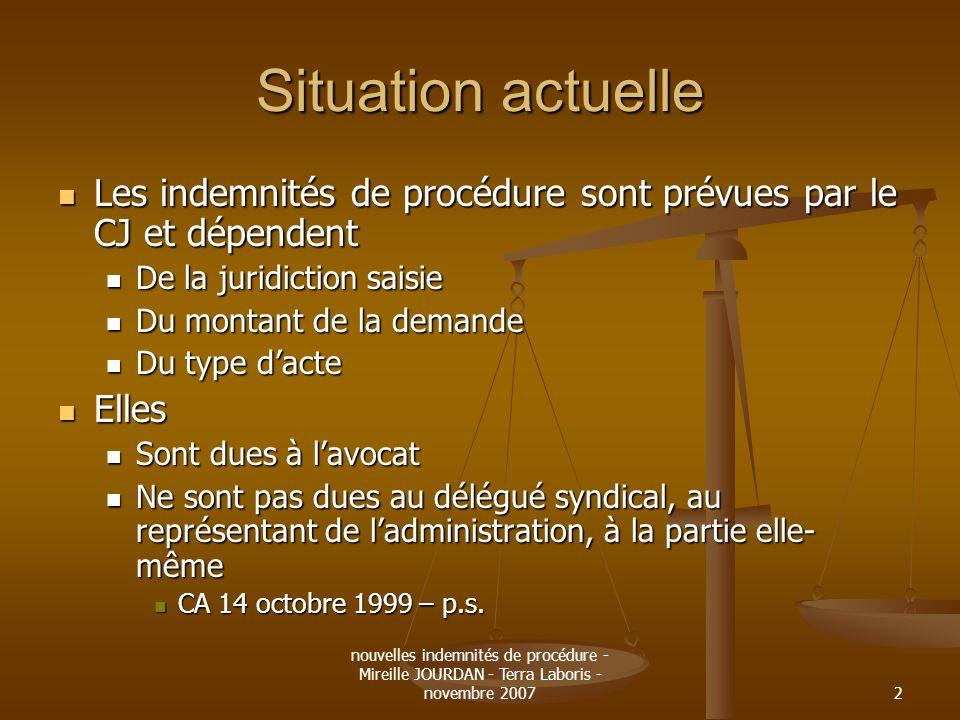 nouvelles indemnités de procédure - Mireille JOURDAN - Terra Laboris - novembre 20072 Situation actuelle Les indemnités de procédure sont prévues par