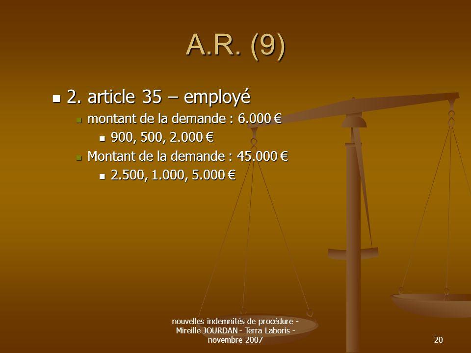 nouvelles indemnités de procédure - Mireille JOURDAN - Terra Laboris - novembre 200720 A.R. (9) 2. article 35 – employé 2. article 35 – employé montan