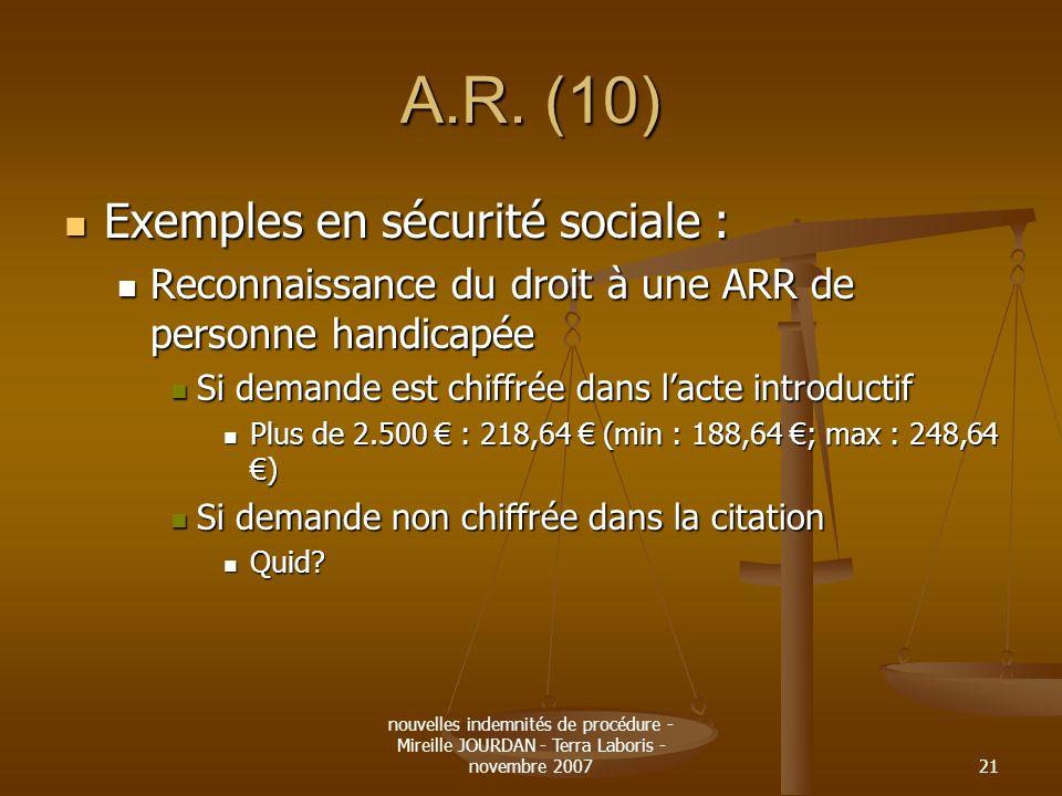 nouvelles indemnités de procédure - Mireille JOURDAN - Terra Laboris - novembre 200721 A.R. (10) Exemples en sécurité sociale : Exemples en sécurité s