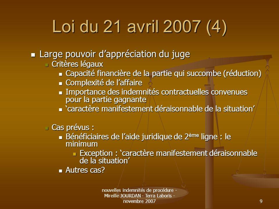 nouvelles indemnités de procédure - Mireille JOURDAN - Terra Laboris - novembre 20079 Loi du 21 avril 2007 (4) Large pouvoir dappréciation du juge Lar