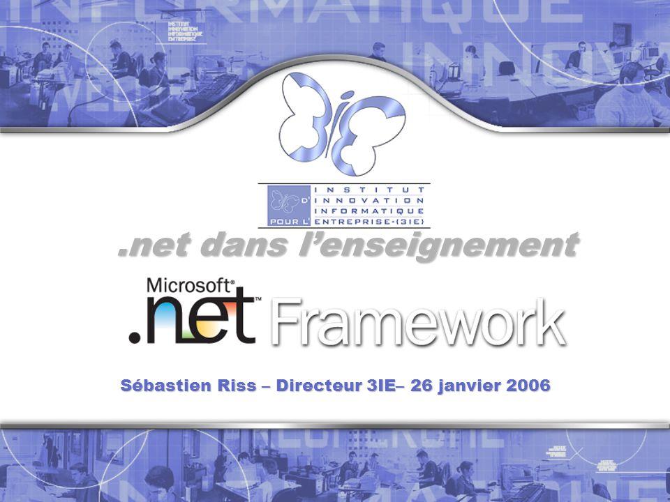 Introduction Fondamentau x Etudiants Formation Professionnel Conclusion.NET pour les fondamentaux ENSEIGNER LES CONCEPTS … Typologie des langages Conception objet, à base de composants Compilation Informatique distribuée … A LAIDE DE CONSTRUCTIONS Langages : C#, VB.NET, C++ Architectures : Windows Runtime et librairies : CLR, CLI C# VB.NET Web form Win form ASP.NET ADO.NET.NET Remoting Web Service XML.NET CE Jentends et joublie Je vois et je me souviens Je fais et je comprends Confucius Fondamentau x