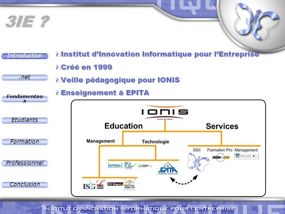 .net Introduction Fondamentau x Etudiants Formation Professionnel Conclusion.NET : Mettez à jour vos constructions VieuxNouveau Fondamentaux OO (Java) Fondamentaux OO (C#) IHM (VB) IHM (VB ou C#) Internet (ASP, HTML …) Internet (ASP.NET, HTML, XML …) Dist Computing(COM+/MTS).NET Remoting,.NET Web Services Consistance Utilise une librairie unifiée =>- de complexité parasiteModerne Delegates, Metadata, XMLFlexible La plupart des concepts peuvent être montrés Nombreux langages peuvent être utilisés Fondamentau x