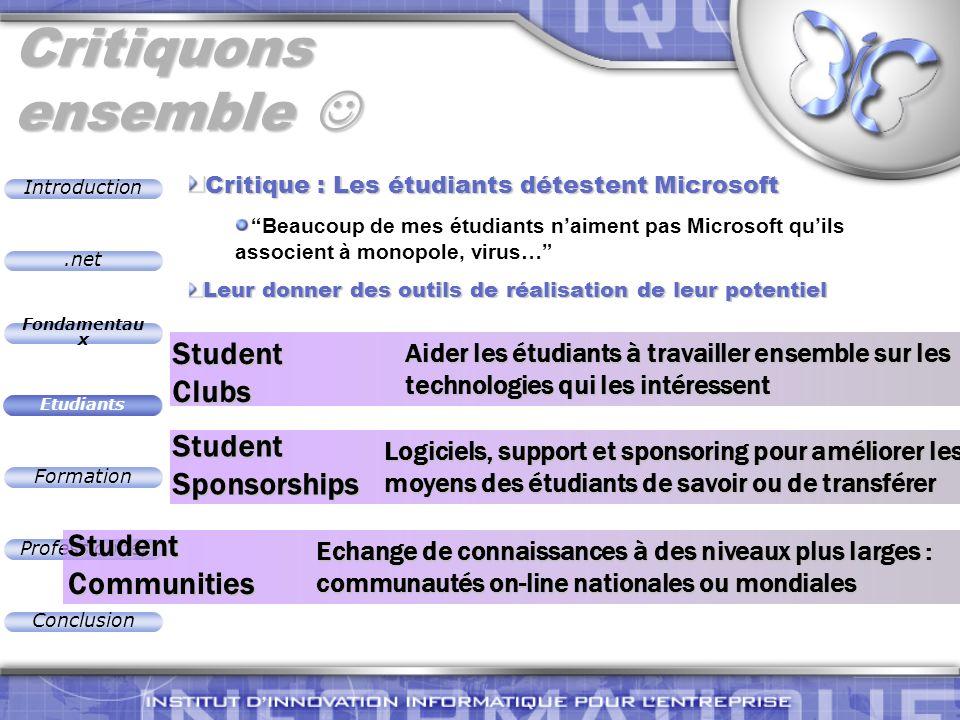.net Introduction Fondamentau x Etudiants Formation Professionnel Conclusion Aider les étudiants à travailler ensemble sur les technologies qui les in