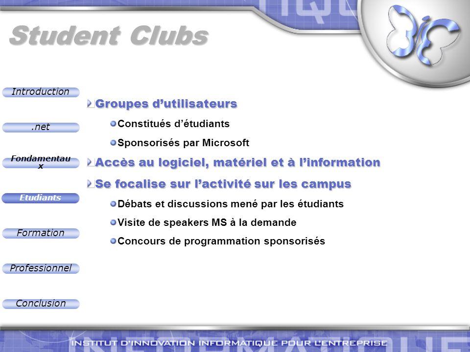 .net Introduction Fondamentau x Etudiants Formation Professionnel Conclusion Student Clubs Groupes dutilisateurs Constitués détudiants Sponsorisés par