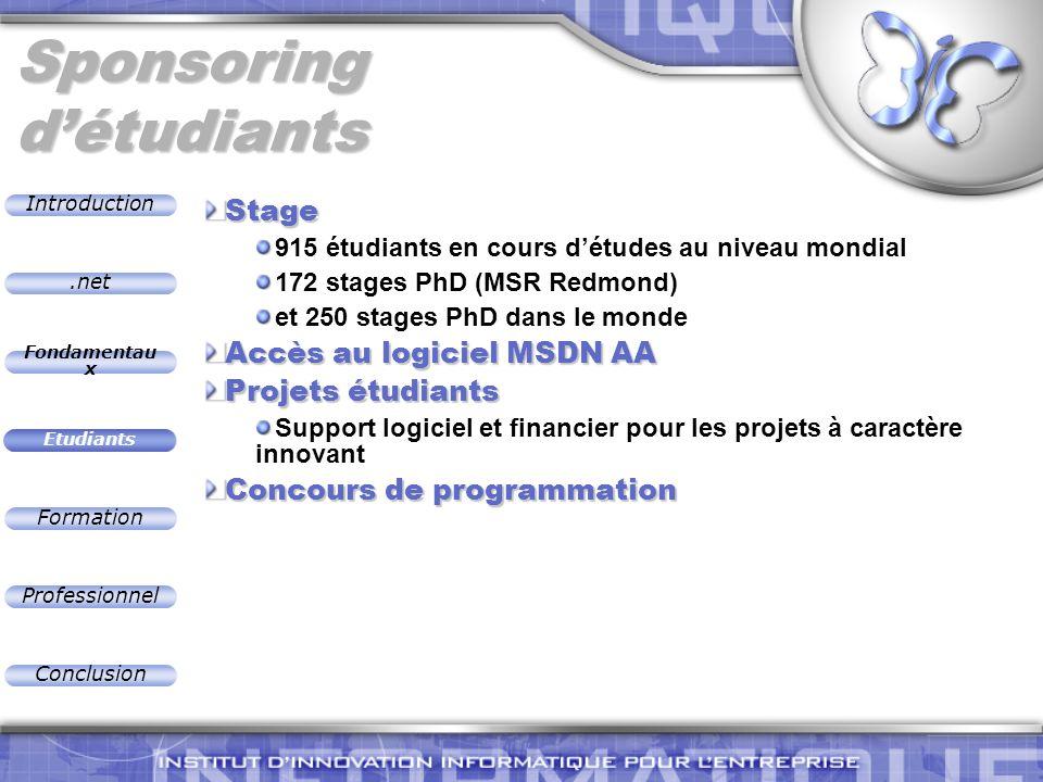 .net Introduction Fondamentau x Etudiants Formation Professionnel Conclusion Sponsoring détudiants Stage 915 étudiants en cours détudes au niveau mond