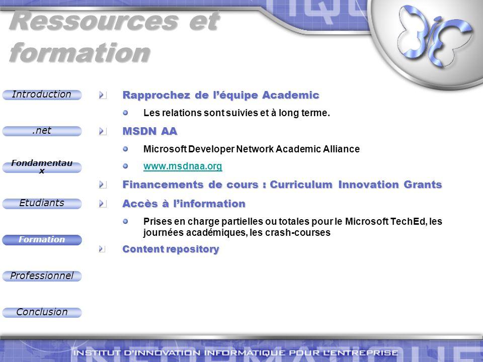 .net Introduction Fondamentau x Etudiants Formation Professionnel Conclusion Ressources et formation Rapprochez de léquipe Academic Les relations sont