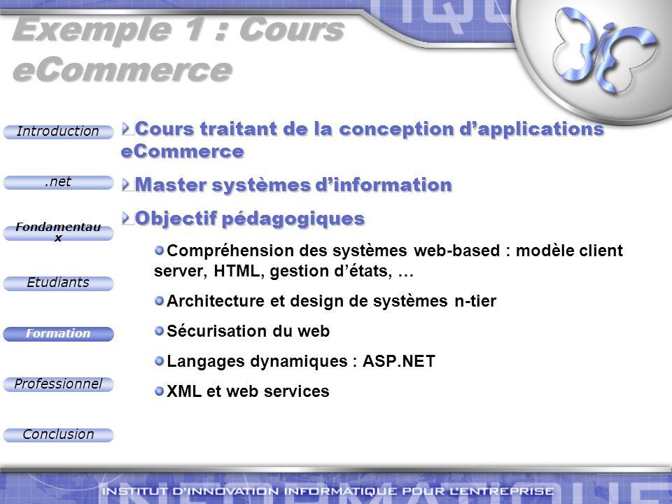 .net Introduction Fondamentau x Etudiants Formation Professionnel Conclusion Exemple 1 : Cours eCommerce Cours traitant de la conception dapplications
