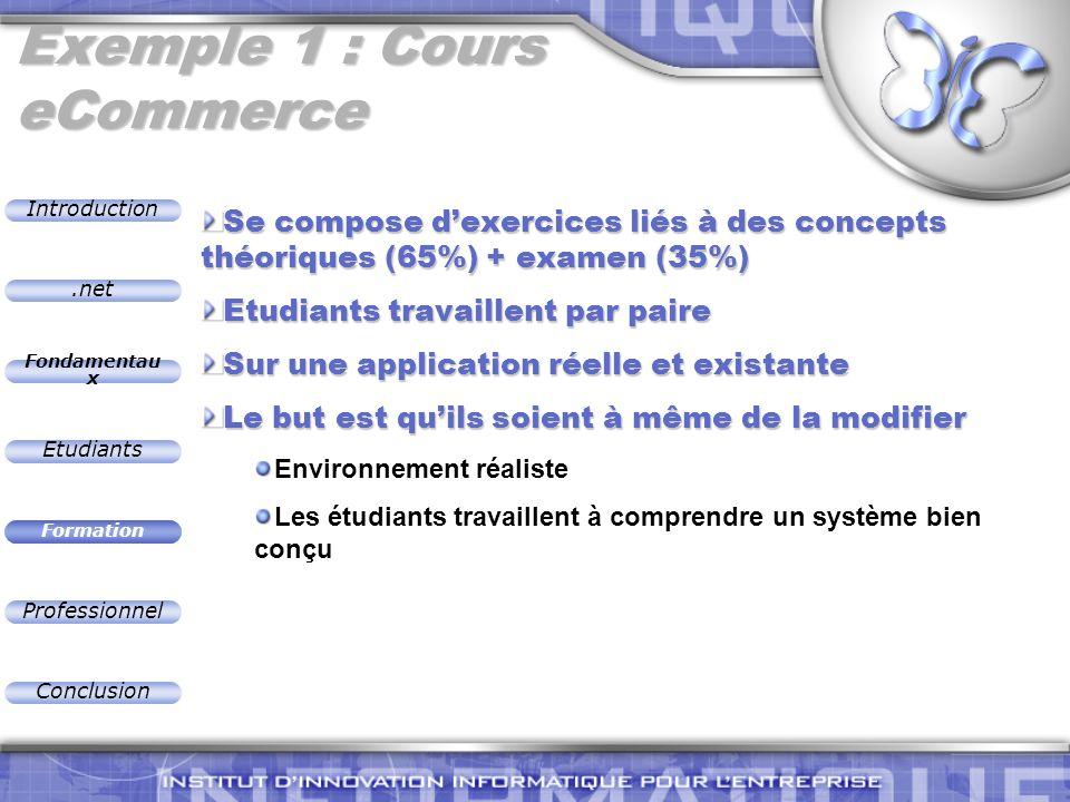 .net Introduction Fondamentau x Etudiants Formation Professionnel Conclusion Exemple 1 : Cours eCommerce Se compose dexercices liés à des concepts thé