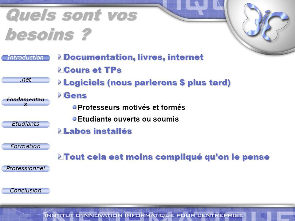 .net Introduction Fondamentau x Etudiants Formation Professionnel Conclusion Quels sont vos besoins ? Documentation, livres, internet Cours et TPs Log