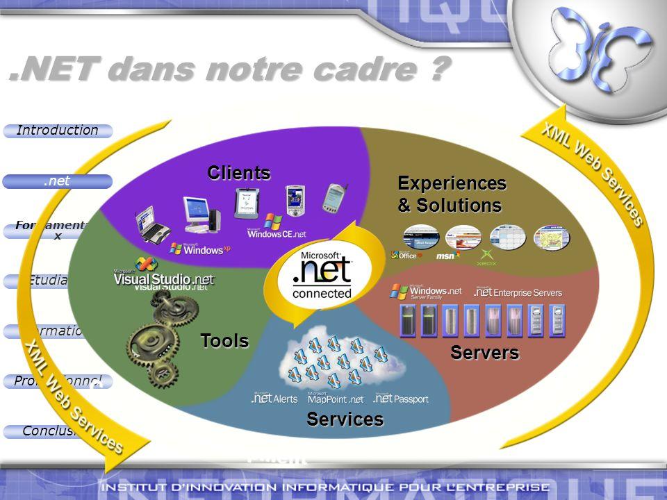 Introduction Fondamentau x Etudiants Formation Professionnel Conclusion.NET dans notre cadre ? Servers Experiences & Solutions Clients Services Tools.