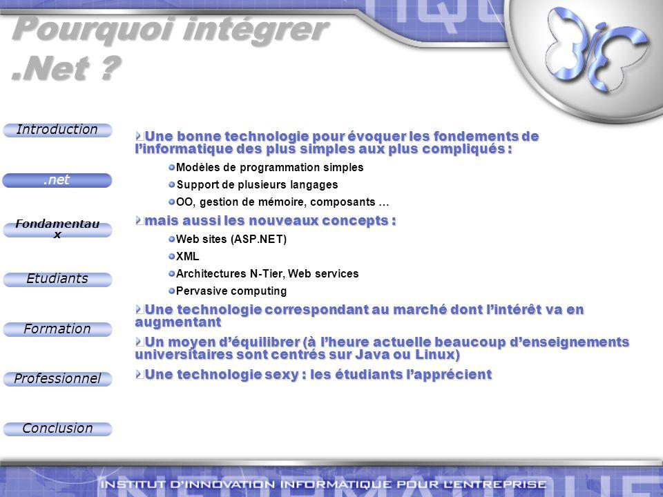 Introduction Fondamentau x Etudiants Formation Professionnel Conclusion Domaines de recherche Domaines recherche Sécurité Mobilité SoftwareEngineering Compilateurs Langages Runtimes Systèmes embarqués.net