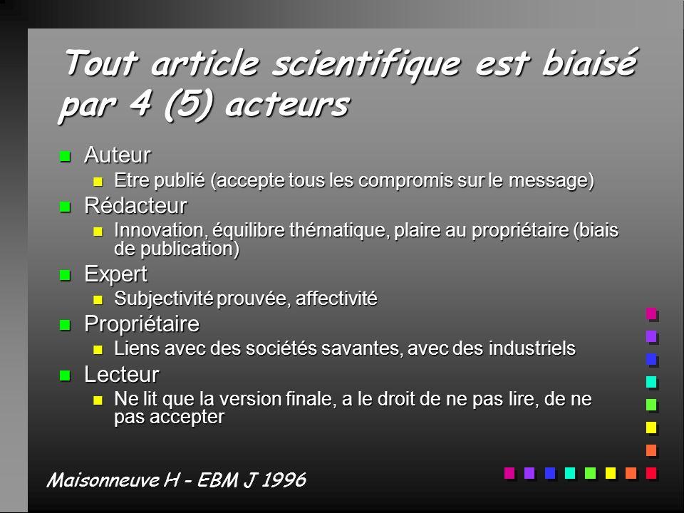 Tout article scientifique est biaisé par 4 (5) acteurs n Auteur n Etre publié (accepte tous les compromis sur le message) n Rédacteur n Innovation, éq