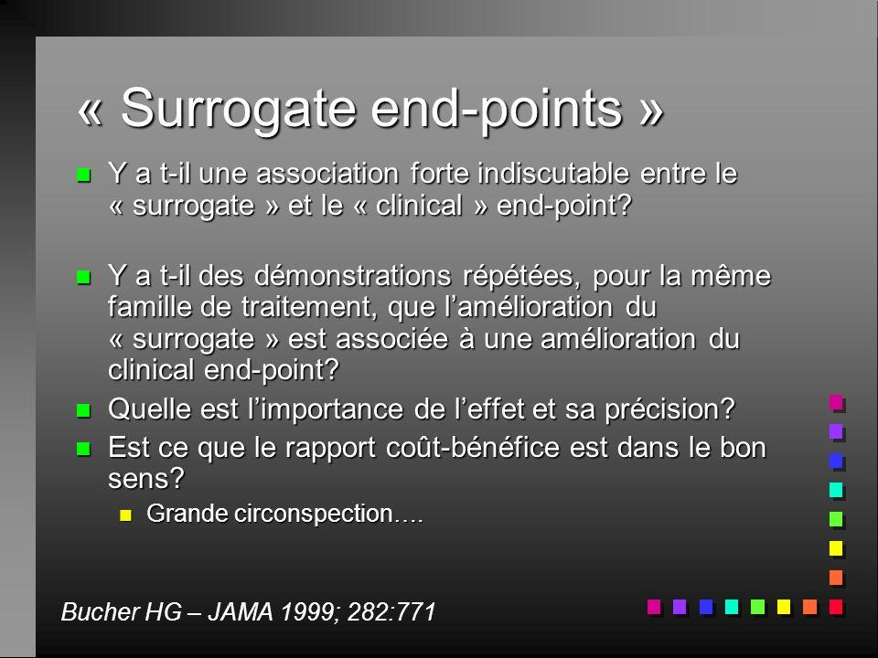 « Surrogate end-points » n Y a t-il une association forte indiscutable entre le « surrogate » et le « clinical » end-point? n Y a t-il des démonstrati