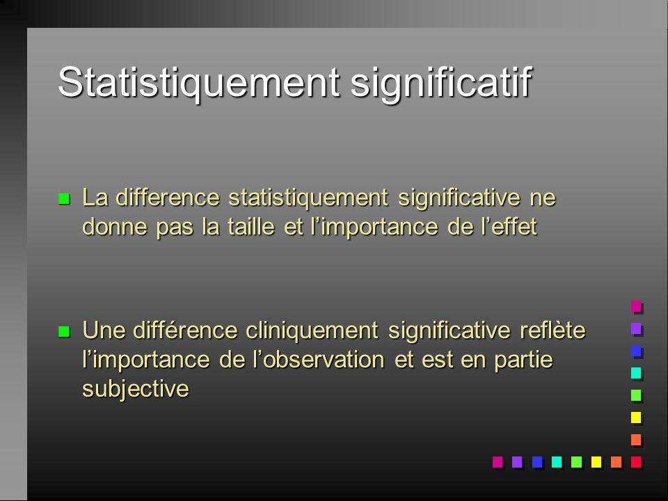 Statistiquement significatif n La difference statistiquement significative ne donne pas la taille et limportance de leffet n Une différence cliniqueme