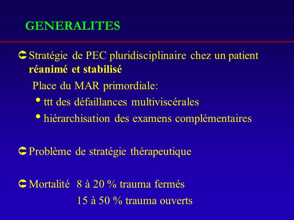 GENERALITES ÛStratégie de PEC pluridisciplinaire chez un patient réanimé et stabilisé Place du MAR primordiale: ttt des défaillances multiviscérales h