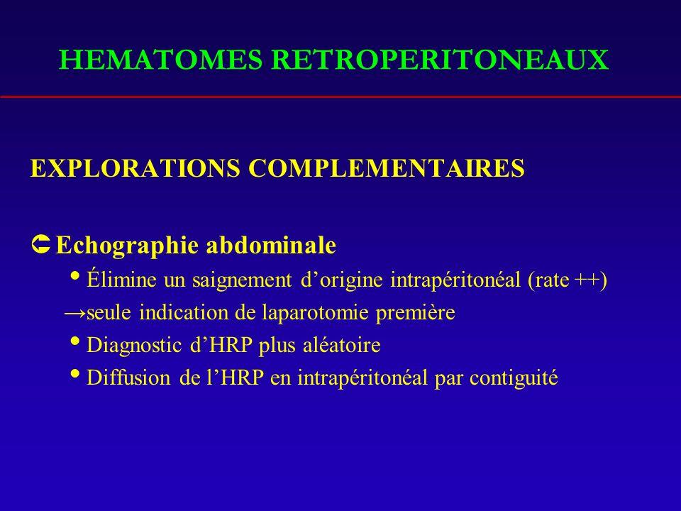 HEMATOMES RETROPERITONEAUX EXPLORATIONS COMPLEMENTAIRES ÛEchographie abdominale Élimine un saignement dorigine intrapéritonéal (rate ++) seule indication de laparotomie première Diagnostic dHRP plus aléatoire Diffusion de lHRP en intrapéritonéal par contiguité