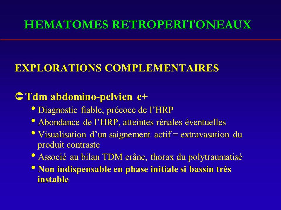 HEMATOMES RETROPERITONEAUX EXPLORATIONS COMPLEMENTAIRES ÛTdm abdomino-pelvien c+ Diagnostic fiable, précoce de lHRP Abondance de lHRP, atteintes rénales éventuelles Visualisation dun saignement actif = extravasation du produit contraste Associé au bilan TDM crâne, thorax du polytraumatisé Non indispensable en phase initiale si bassin très instable