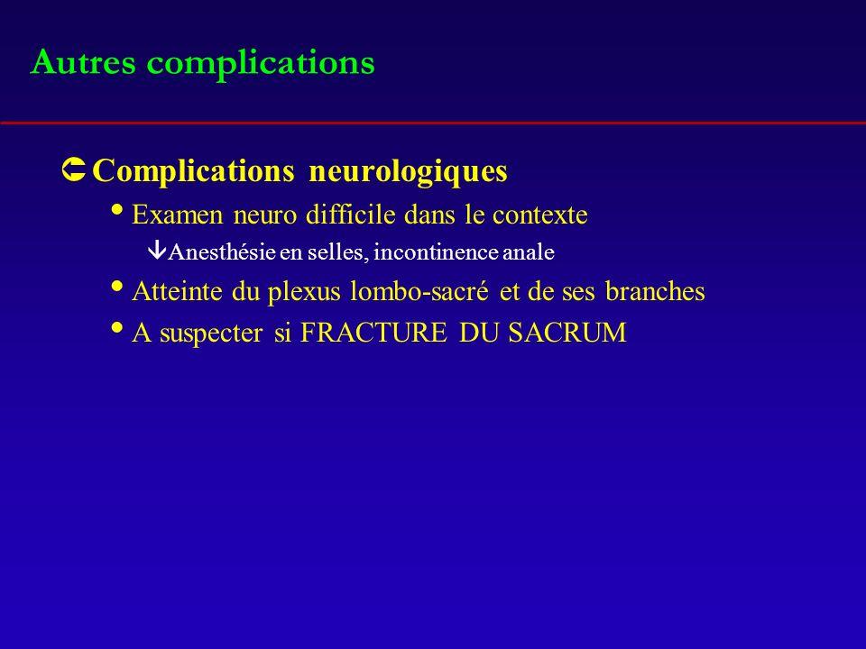 Autres complications ÛComplications neurologiques Examen neuro difficile dans le contexte âAnesthésie en selles, incontinence anale Atteinte du plexus