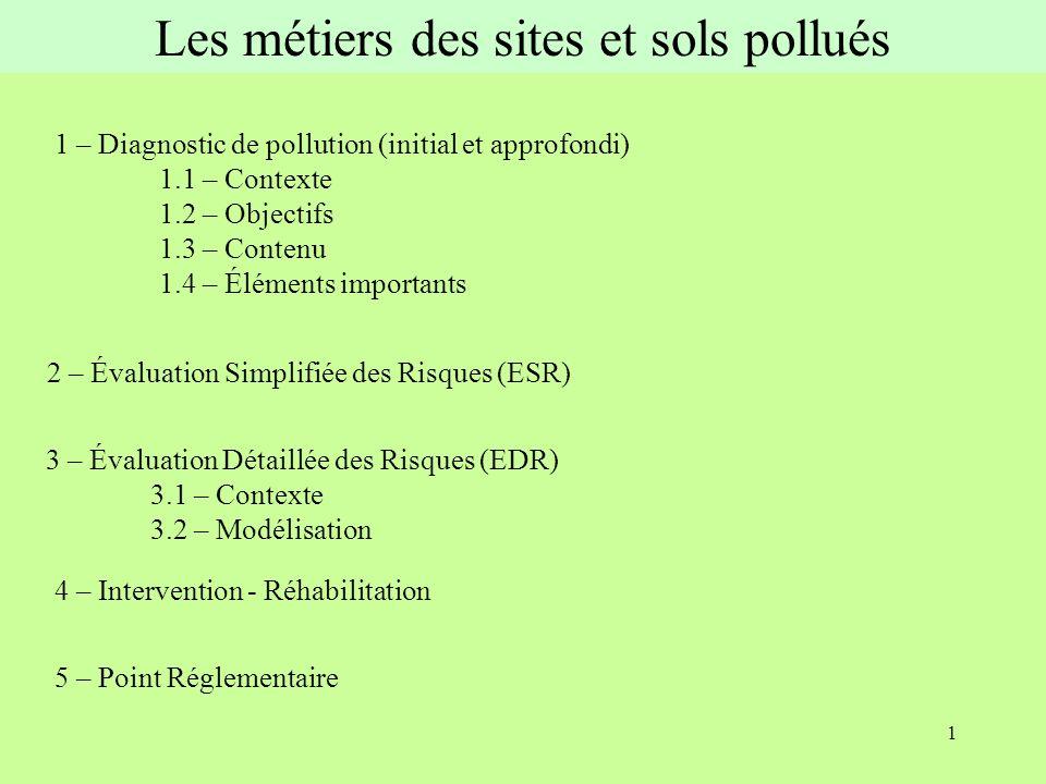 12 1.4 – Éléments importants - réalisation de toutes les étapes (ou justification) - prise en compte de tous les polluants susceptibles dêtre présents - localisation des investigations judicieuse et identifiable - profondeur des sondages/prélèvements judicieuse - cartographie claire et synthétique des polluants identifiés, de leur concentration et de leur profondeur - conditionnement et envoi des échantillons 1 - Diagnostic de pollution (initial et approfondi)