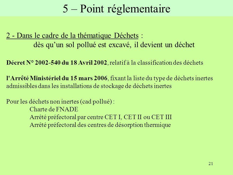 21 2 - Dans le cadre de la thématique Déchets : dès quun sol pollué est excavé, il devient un déchet Décret N° 2002-540 du 18 Avril 2002, relatif à la