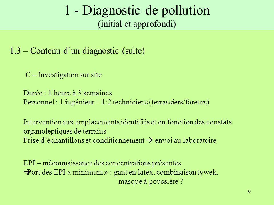 10 1.3 – Contenu dun diagnostic (suite) D – Interprétation des résultats Cartographie lisible des pollutions détectées En fonction des résultats du laboratoire, des constats de terrains Valeur de comparaison : - Réglementation : pas de seuil de dépollution - VDSS : Valeur de Définition Source Sol - VCI : Valeur de Constat dImpact (usage sensible ou non) et recommandations associées 1 - Diagnostic de pollution (initial et approfondi)