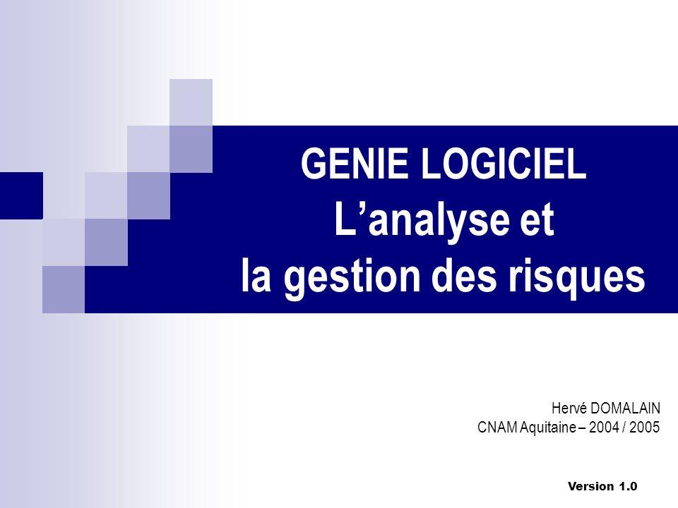 Version 1.0 GENIE LOGICIEL Lanalyse et la gestion des risques Hervé DOMALAIN CNAM Aquitaine – 2004 / 2005