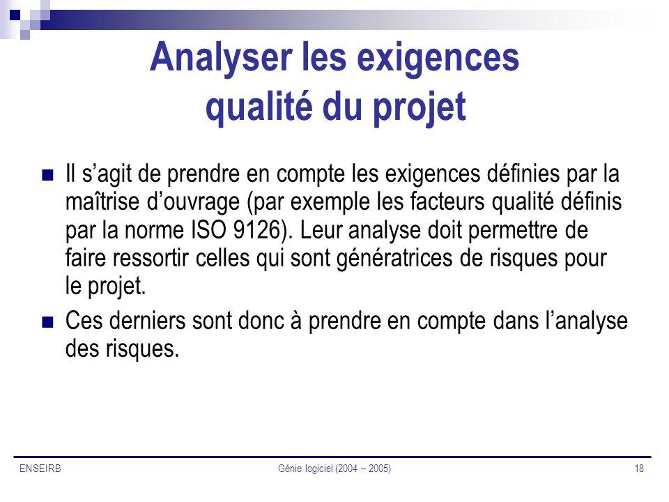 Génie logiciel (2004 – 2005) 18 ENSEIRB Analyser les exigences qualité du projet Il sagit de prendre en compte les exigences définies par la maîtrise