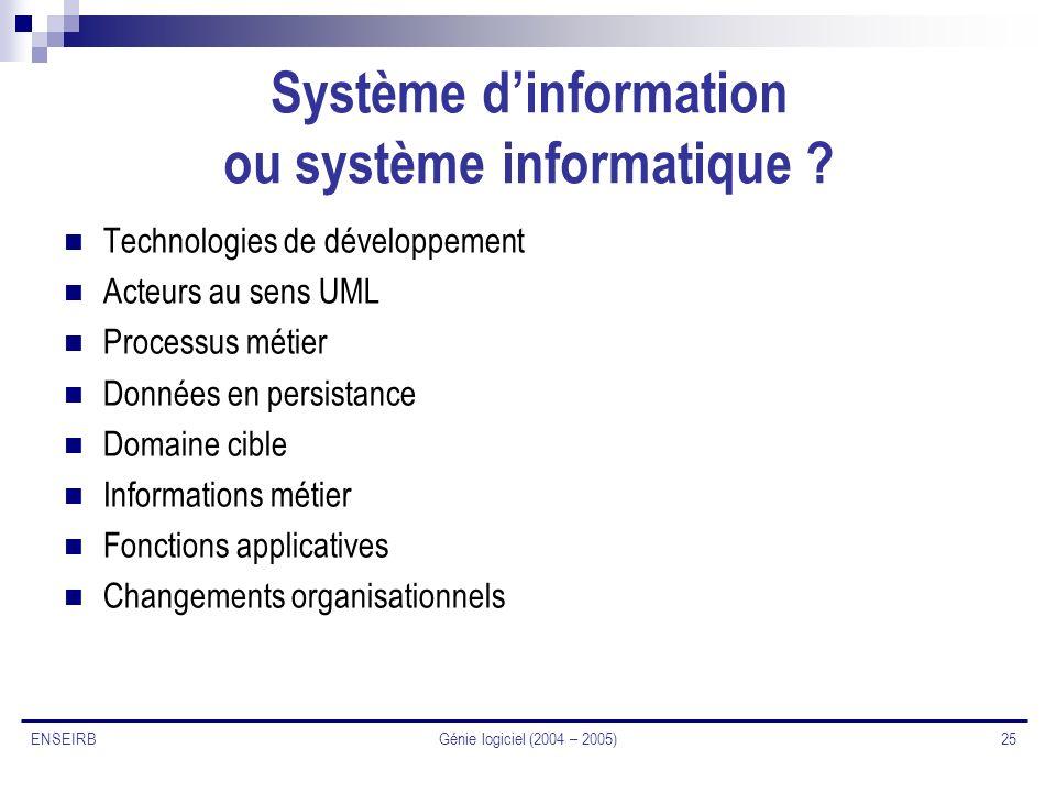 Génie logiciel (2004 – 2005) 25 ENSEIRB Système dinformation ou système informatique ? Technologies de développement Acteurs au sens UML Processus mét