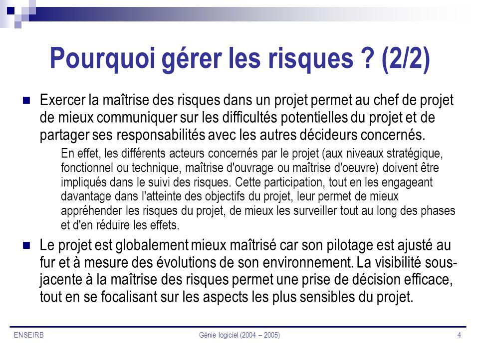 Génie logiciel (2004 – 2005) 4 ENSEIRB Pourquoi gérer les risques ? (2/2) Exercer la maîtrise des risques dans un projet permet au chef de projet de m
