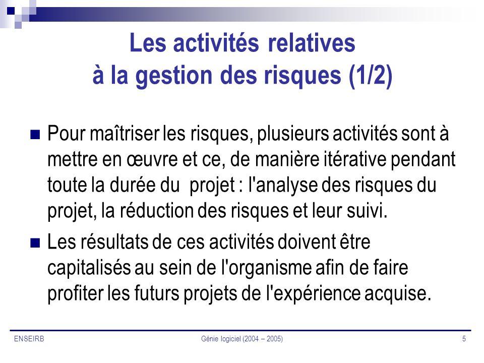 Génie logiciel (2004 – 2005) 5 ENSEIRB Les activités relatives à la gestion des risques (1/2) Pour maîtriser les risques, plusieurs activités sont à m